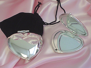 Silver Heart Shaped Compact Mirrors
