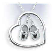 Sterling Silver Heart with Shoes Necklace