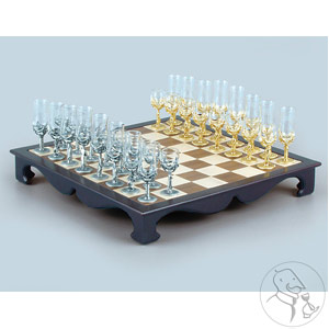 Pewter Wine Glass Chess Set