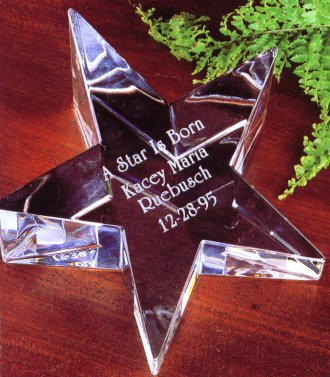 Engraved Crystal Star