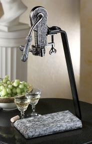Antique Pewter Champion Set with White Wave Granite Table